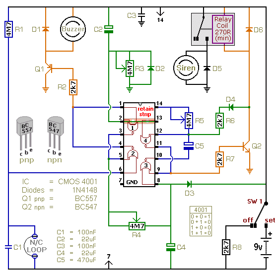 a battery powered burglar alarm circuit with a timed. Black Bedroom Furniture Sets. Home Design Ideas