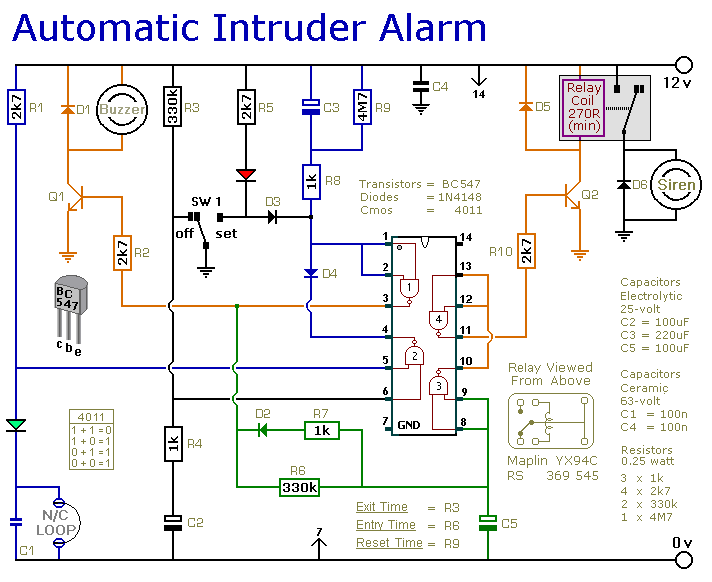 Alarm analysis and design sound activated burglar alarm circuit